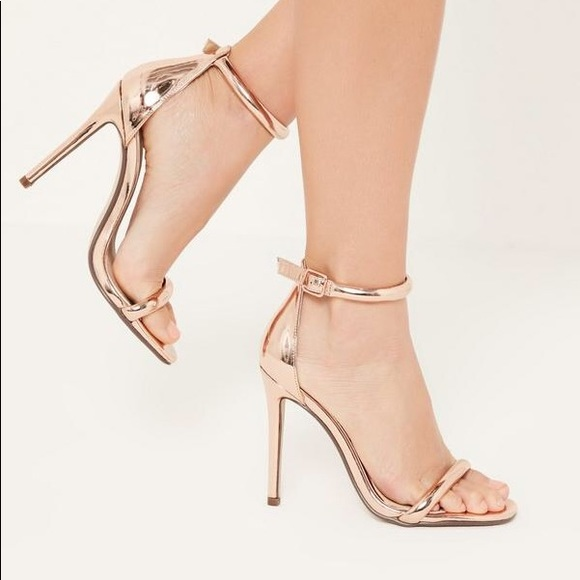 652e989013f BNWT Missguided Rose Gold Strappy Heels Size 9